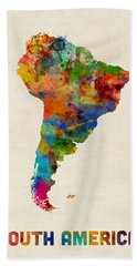 South America Watercolor Map Bath Towel