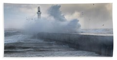 South Breakwater In The Storm Hand Towel