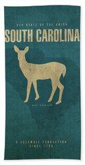 South Carolina State Facts Minimalist Movie Poster Art Hand Towel