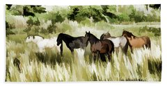 Hand Towel featuring the mixed media South Dakota Herd Of Horses by Wilma Birdwell