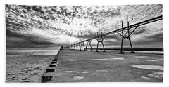 South Haven Pier Wide Angle Hand Towel