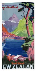 South Island New Zealand Vintage Poster Restored Bath Towel