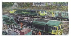 Bath Towel featuring the painting Southampton Freightliner Train Maintenance by Martin Davey