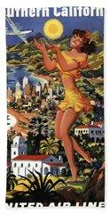 Southern California Vintage Travel 1950's Bath Towel