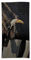 Bath Towel featuring the digital art Southern Yellow Billed Hornbill by Ernie Echols