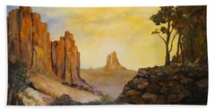 Hand Towel featuring the painting Southwest by Alan Lakin