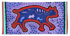 Hand Towel featuring the digital art Southwest Desert Feral Cat by Vagabond Folk Art - Virginia Vivier