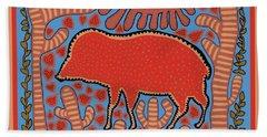 Hand Towel featuring the digital art Southwest Desert Wart Hog by Vagabond Folk Art - Virginia Vivier