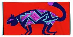 Hand Towel featuring the digital art Southwest Mimbres Feline by Vagabond Folk Art - Virginia Vivier