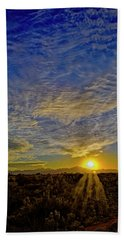 Hand Towel featuring the digital art Southwest Sunset Op40 by Mark Myhaver