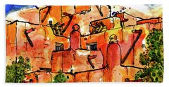 Hand Towel featuring the painting Southwestern Architecture by Terry Banderas
