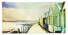 Hand Towel featuring the photograph Southwold Beach Huts by Anne Kotan
