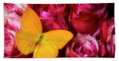Soutime Roses And Yellow Butterfly Bath Towel