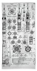 Soviet Rocket Schematics Hand Towel by Taylan Apukovska