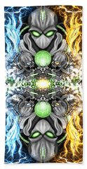 Space Alien Time Machine Fantasy Art Hand Towel