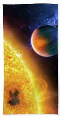 Bath Towel featuring the photograph Space Image Extrasolar Planet Yellow Orange Blue by Matthias Hauser