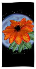 Bath Towel featuring the painting Space Zinnia On Black by Jean Pacheco Ravinski