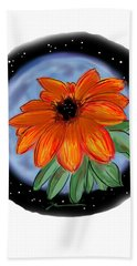 Bath Towel featuring the painting Space Zinnia by Jean Pacheco Ravinski