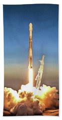 Spacex Iridium-5 Mission Falcon 9 Rocket Launch Bath Towel