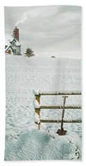 Spade Leaning Against Fence In The Snow Hand Towel