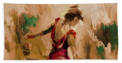 Bath Towel featuring the painting Spanish Dance Culture  by Gull G