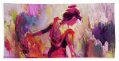 Hand Towel featuring the painting Spanish Female Art 0087 by Gull G