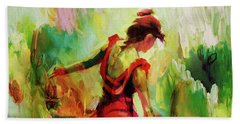 Hand Towel featuring the painting Spanish Female Art 56y by Gull G
