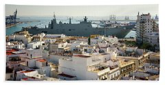 Bath Towel featuring the photograph Spanish Navy Ship Juan Carlos I Cadiz Spain by Pablo Avanzini