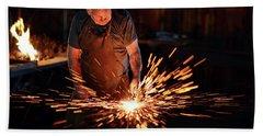 Sparks When Blacksmith Hit Hot Iron Bath Towel