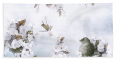 Sparrow On Cherry Branch Bath Towel