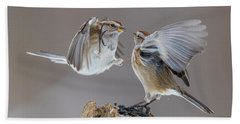 Bath Towel featuring the photograph Sparrows Fight by Mircea Costina Photography