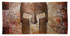 Spartan Helmet On Rusted Riveted Metal Sheet Hand Towel