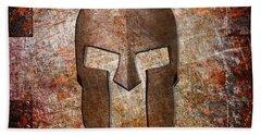 Spartan Helmet On Rusted Riveted Metal Sheet Bath Towel