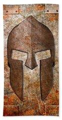 Spartan Helmet On Rusted Riveted Metal Sheet Hand Towel