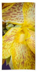 Hand Towel featuring the photograph Speckled Canna by Christi Kraft