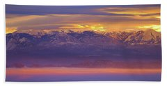 Spectacular Surnise Of The La Sal Mountains From Dead Horse Point State Park Hand Towel