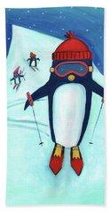 Speedy Skiing Penguin Bath Towel