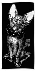 Sphynx Drawing Bath Towel by Akiko