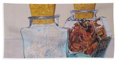 Hand Towel featuring the painting Spice Jars by Hilda and Jose Garrancho