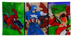 Bath Towel featuring the drawing Spider-man Collage  by Justin Moore