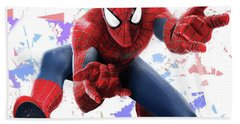 Bath Towel featuring the mixed media Spider Man Splash Super Hero Series by Movie Poster Prints
