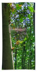 Spider Web In A Forest Bath Towel