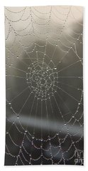 Spider Web With Morning Dew Hand Towel