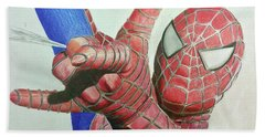 Spiderman Hand Towel by Michael McKenzie
