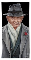 Hand Towel featuring the painting Spiffy Old Man by Judy Kirouac