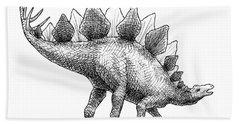 Stegosaurus - Dinosaur Decor - Black And White Dino Drawing Bath Towel
