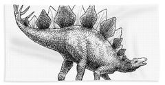 Bath Towel featuring the drawing Spike The Stegosaurus - Black And White Dinosaur Drawing by Karen Whitworth