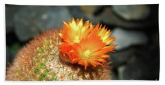 Spiky Little Cactus With Orange Flower Hand Towel