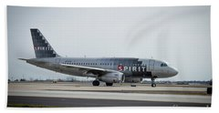 Bath Towel featuring the photograph Spirit Airlines A319 Airbus N523nk Airplane Art by Reid Callaway