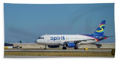 Bath Towel featuring the photograph Spirit Airlines Airbus A320 N608nk Airplane Art by Reid Callaway